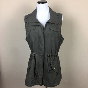 NWT Sebby Olive Green Utility Vest Size XL
